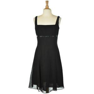 London Style Black A-Line Midi Dress